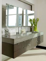 Floating Modern Bathroom Vanity With Poured Concrete Countertop And  Integrated Trough Sink And Double Wide Mirrors , The Modern Bathroom Van.