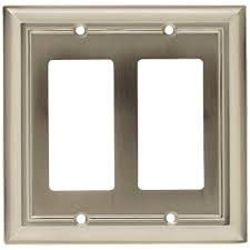 architectural decorative double rocker switch plate satin nickel
