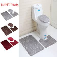 3pcs anti slip bathroom rug mat set stone pattern soft memory foam bath rugs us