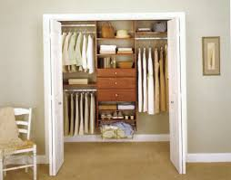 Simple Brown Stained Wooden Floating Closet System Building A