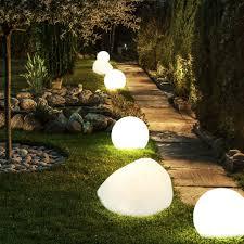 set of 6 led solar ball plug lights garden path stone design stand lamps yard
