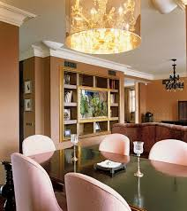 dining room crystal lighting. Crystal Chandelier Pink Fabric Dining Chair Mahogany Table Black Rustic Iron Brown Wall Color Room Lighting