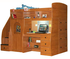 wooden bunk beds with stairs plus drawers and bookcase with computer desk for kids furniture ideas