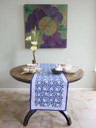 table runner lotus asian blue runner round table lotus asian blue runner round table ml asian fl blue swatch vertical