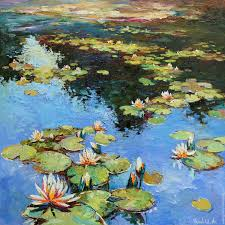 flower painting handmade livemaster handmade water lilies large oil painting 90 x