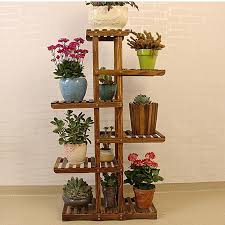bamboo wooden plant stand indoor outdoor garden planter flower pot stand shelf
