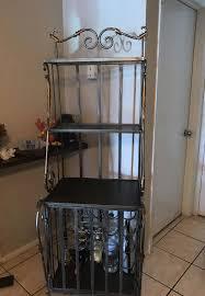 vintage wrought iron filigree wine rack baker server shelf hutch liquor cabinet