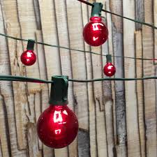 Red Globe String Lights 25 Ft Green C9 String Light With G50 Red Bulbs