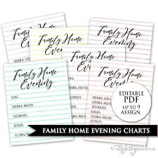 Family Home Evening Chart Lds Editable Pdf Printable Digital Fhe Assignment Jobs Board Family Night Help Customize Custom Personalize