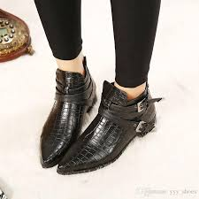 lady flat heel short boots womens shoes pointed toes shoe ankle boot flats martin boots thick heel snake pattern buckle strap zipper black knee high boots