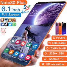 Note30 Plus Thông Minh Giá Rẻ Điện Thoại Mới 2021 4 + 64GB 13 + 24MP  1080*2320 Andriod 10 điện Thoại Di Động 4800MAh Mặt ID MTK6889 Điện Thoại  Di Động Phone Screen Protectors