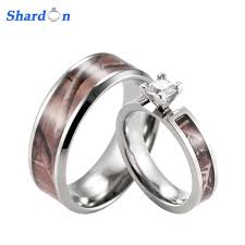shardon realtree camo enement wedding ring set anium 4 g setting cz enement ring with men s wedding band 2pcs