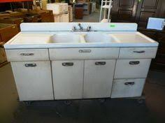 vintage retro metal kitchen cabinet cast iron sink ebay tinny