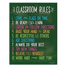 Classroom Rules Posters For Science History Reading Music Math Class Laminated Educational Posters For Middle School And High School Class