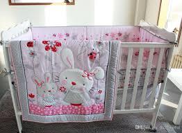 active printing cotton ba girl crib bedding set pink bunny cot for incredible property baby girl crib bedding sets pink designs