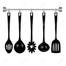 kitchen utensils hanging isolated on white Stock Vector - 20203993