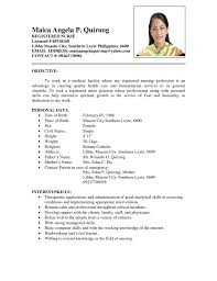 Sample Resume For Filipino Nurses Resume format Sample for Nurses In the Philippines Milviamaglione 1