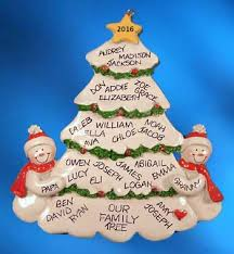 Personalized Family Tree Christmas Ornament with Snow Couple image