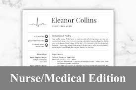 Nurse Resume Template Eleanor Resume Templates Creative Market