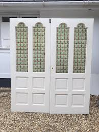 double antique stained glass style doors period reclaimed old edwardian wood