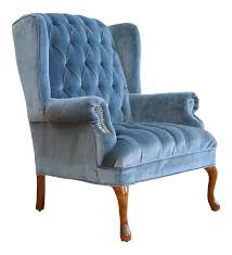 Image Leather Chairish Vintage Blue Navy Tufted Velvet Wingback Chair Chairish