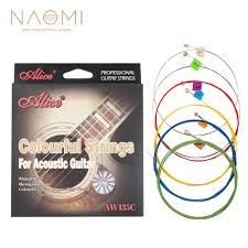 <b>NAOMI</b> Alice AW435C Colourful Acoustic <b>Guitar</b> Strings 1set-<b>6pcs</b> ...