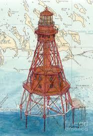 American Shoal Lighthouse Fl Keys Cathy Peek Nautical Chart Map