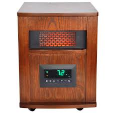 lifesmart 1500 watt 6 element infrared room heater with oak cabinet and remote