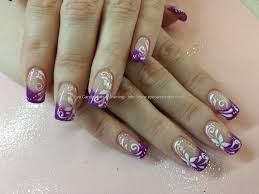 Eye Candy Nails & Training - Violet gel with white scroll freehand ...