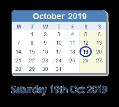 2019 October Calendar October 19 2019 Calendar With Holiday Info And Count Down Ind