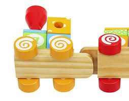 train wooden train locomotive 2 wagons 15 blocks colorful shapes letters toys 6511