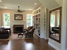 wood mirror frame ideas. Interior. Large Mirror Having Brown Wooden Frame Floating On Grey Wall. Amazing Ideas Wood R