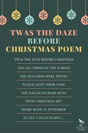 Poem About Curriculum Design Twas The Daze Before Christmas Poem Teacher Poems