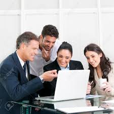 happy working business team in modern office stock photo picture happy working business team in modern office stock photo 8589957