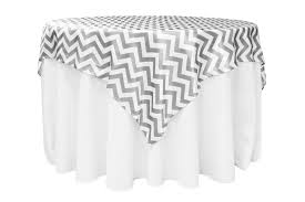 chevron 72 square satin table overlay gray