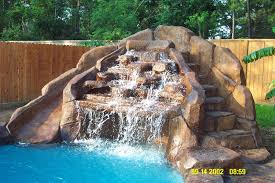 backyard pools with waterfalls and slide. Wonderful Waterfalls Pool Waterfall And Slide To Backyard Pools With Waterfalls And Slide I