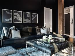 collection black couch living room ideas pictures. black living room boasts a wall lined with art by chicago artist susan crown placed collection couch ideas pictures f