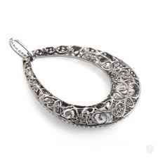 full set teardrop pendant. Non Branded 18K White Gold Diamond Set Teardrop Pendant PA2244NBZ/BR Full