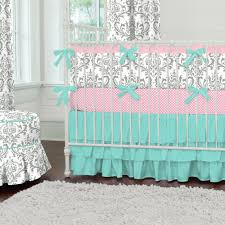 gray and teal damask baby crib bedding  carousel designs color