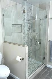pony wall shower corner door knee notch 2 half glass partition walls frameless cost h glass shower half