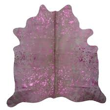 super size extra large pink lilac metallic finish cow hide rug skin 5ft x 6ft for