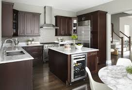 black kitchen cabinets with white marble countertops.  Kitchen Contemporary Kitchen Features Dark Brown Cabinets Paired With White Marble  Countertops And A Gray  With Black Kitchen Cabinets White Marble Countertops D