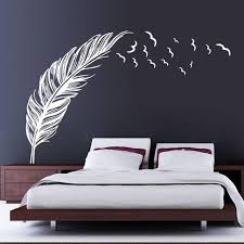 large feather and birds artistic wall sticker decal for home decor wall decals home decor  on artistic wall decal with large feather and birds artistic wall sticker decal for home decor