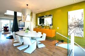 green feature wall living room contemporary open plan white chairs round wallpaper lime