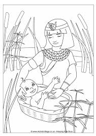 Small Picture Moses in the Basket Colouring Page