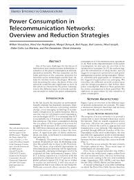 academic paper power consumption in telecommunication networks academic paper power consumption in telecommunication networks overview and reduction strategies