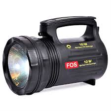 Hand Held Search Light Fos Led Search Light Handheld Torch With Built In Rechargeable 4 5ah Smf Battery Cool White 10 W
