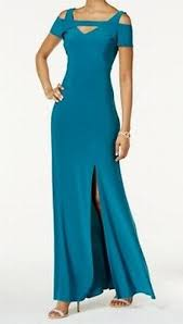 Nightway New Blue Women Size 8p Petite Cold Shoulder Keyhole