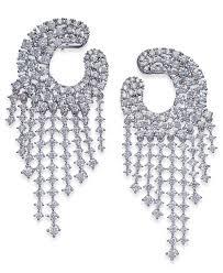 joan boyce women s white silver tone crystal chandelier earrings