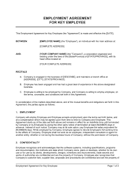 Free Employment Contract Templates Employment Agreement Key Employee Template Word Pdf By